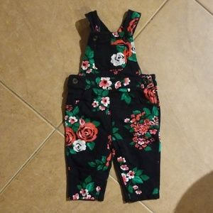 Carters Black Floral Baby Overalls